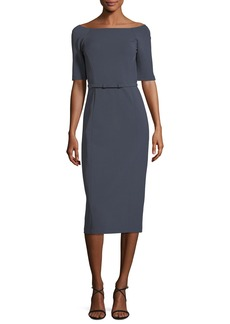 Lafayette 148 Batina Belted Maquette Jersey Dress