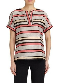 Lafayette 148 New York Baylee Striped Short-Sleeve Blouse