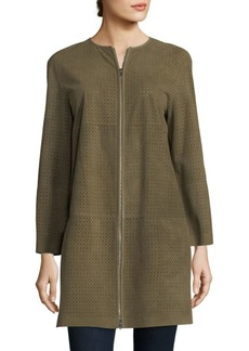 Lafayette 148 Bayne Perforated Suede Jacket