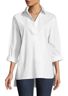 Lafayette 148 New York Beckett Italian Stretch-Cotton Blouse