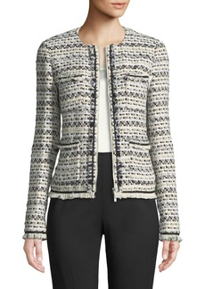Lafayette 148 New York Benji Modulated Tweed Jacket w/ Frayed Trim