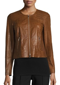 Lafayette 148 New York Benton Crocodile-Embossed Leather Jacket