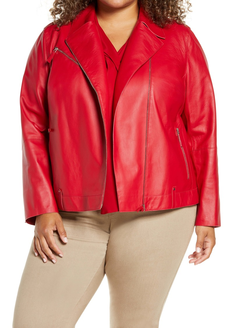 Lafayette 148 New York Bernice Leather Moto Jacket (Plus Size)