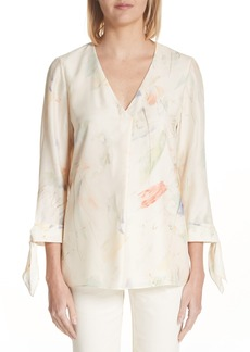 Lafayette 148 New York Blair Modern Muse Print Silk Blouse