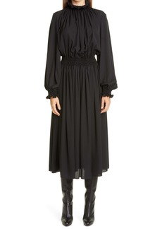 Lafayette 148 New York Blythe Smocked Waist Long Sleeve Silk Midi Dress