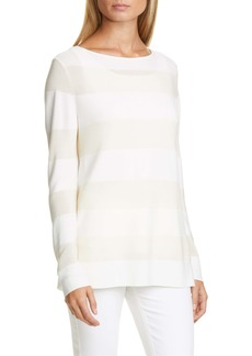 Lafayette 148 New York Boat Neck Stripe Sweater