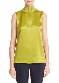 Lafayette 148 New York 'Bonita' Knit Collar Silk Blouse