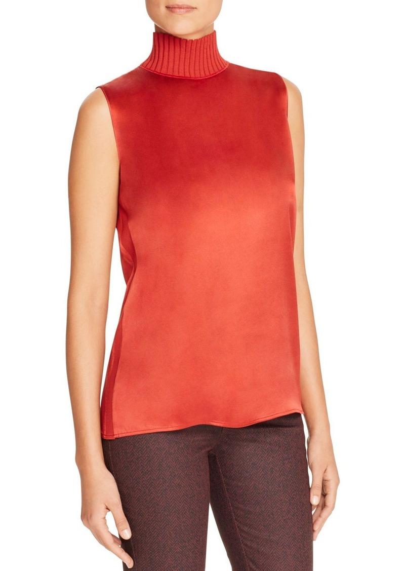 Lafayette 148 New York Bonita Knit Collar Silk Blouse