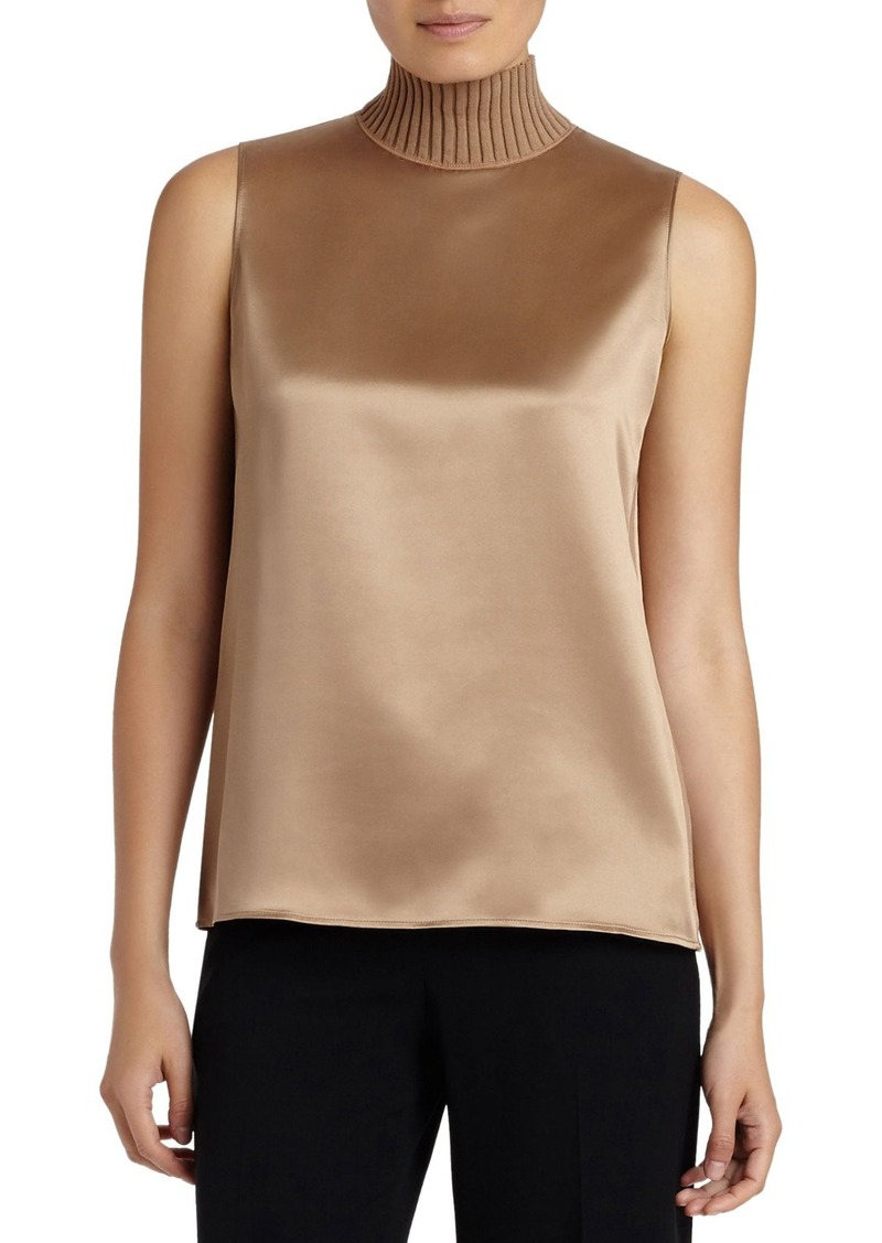 Lafayette 148 New York 'Bonita' Knit Collar Silk Blouse