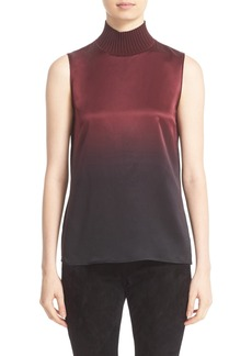Lafayette 148 New York 'Bonita' Knit Collar Silk Blouse (Nordstrom Exclusive)