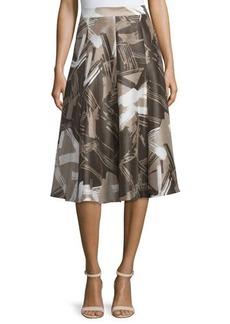 Lafayette 148 New York Boot High-Waist A-Line Printed Skirt