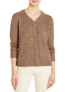 Lafayette 148 New York Braided Cable Cashmere & Silk Sweater