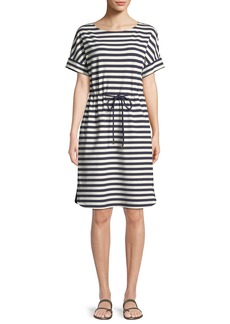 Lafayette 148 Brandon Bedford Striped Drawcord Dress