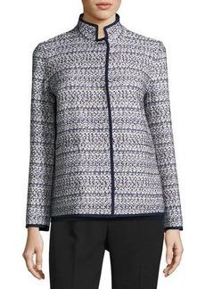 Lafayette 148 New York Branson Stand-Collar Tweed Jacket