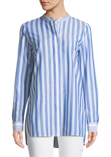 Lafayette 148 Brayden Captiva Striped Cotton Blouse