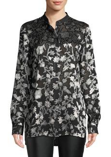 Lafayette 148 New York Brayden Long-Sleeve Button-Front Floral-Burnout Blouse