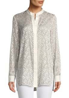 Lafayette 148 New York Brayden Succession Burnout Velvet Blouse