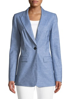 Lafayette 148 Briley Astute Denim One-Button Jacket