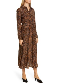 Lafayette 148 New York Brittany Leopard Print Long Sleeve Silk Shirtdress