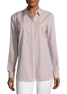 Lafayette 148 New York Brody Cabana Check Button-Front Blouse