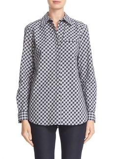 Lafayette 148 New York 'Brody' Check Print Cotton Blouse