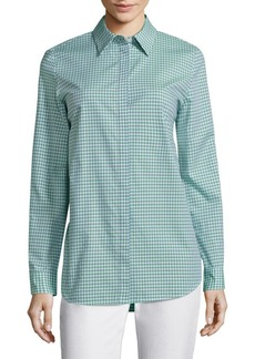 Lafayette 148 New York Brody Gingham Cotton Blouse