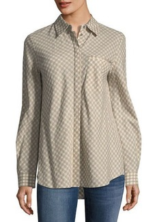 Lafayette 148 New York Brody Gingham Linen-Blend Blouse