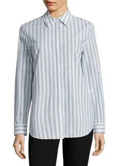 Lafayette 148 New York Brody Striped Cotton And Linen Blouse