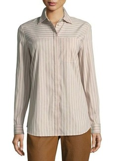 Lafayette 148 New York Brody Striped Poplin Button-Front Blouse