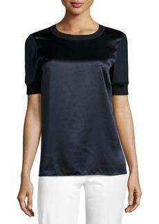 Lafayette 148 New York Brona Short-Sleeve Luxe Silk Charmeuse Blouse