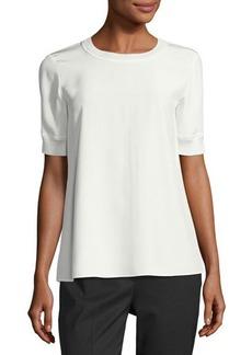 Lafayette 148 New York Brona Short-Sleeve Matte Silk Blouse
