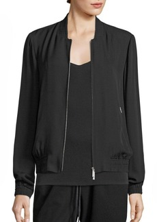 Lafayette 148 New York Bryant Silk Double Georgette Bomber Jacket