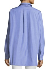 Lafayette 148 Everson Anthology Shirting Button-Down Blouse with Pocket
