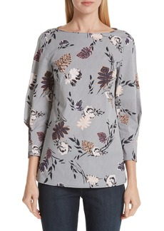 Lafayette 148 New York Caddie Floral & Stripe Stretch Cotton Blouse