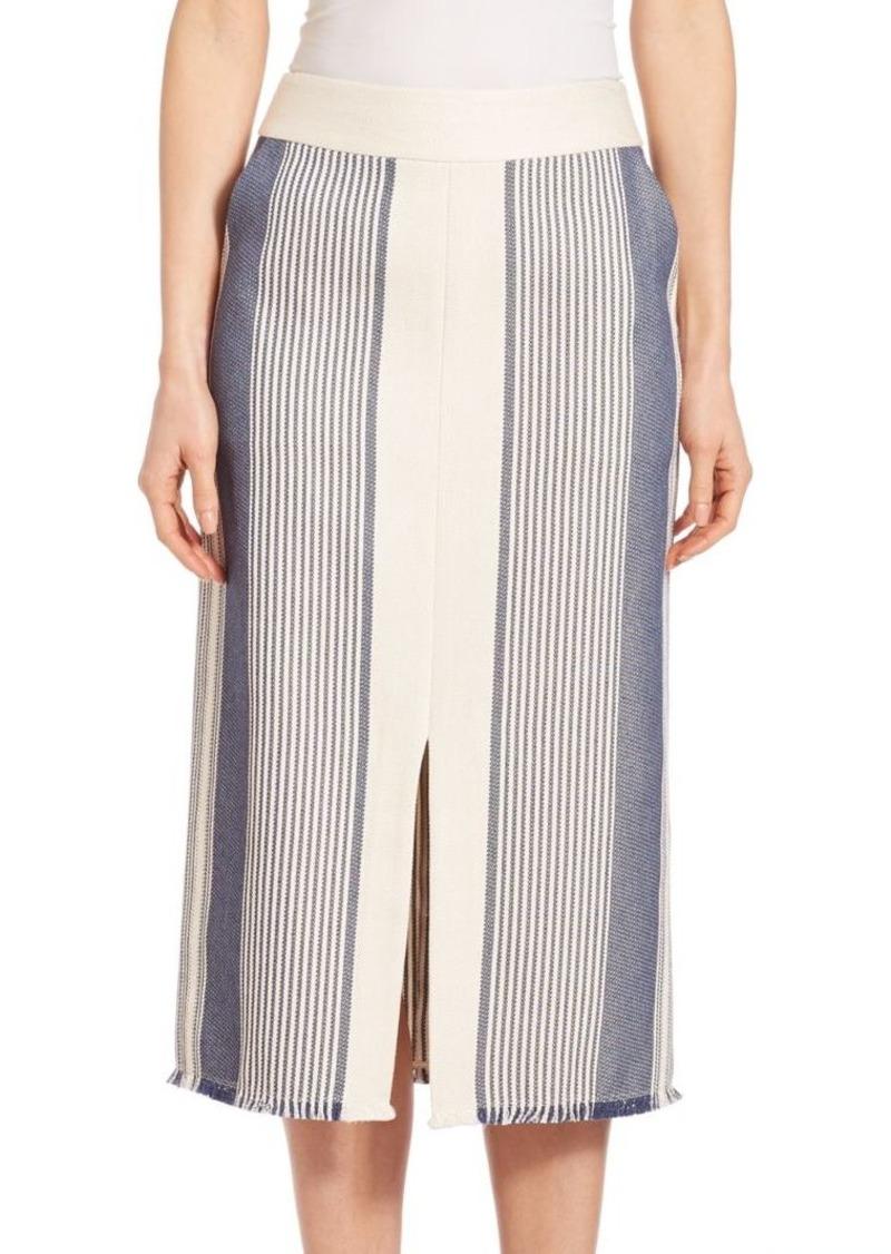 Lafayette 148 New York Adelina Calico Awning-Stripe Skirt
