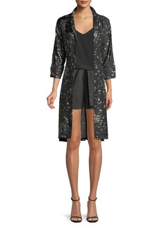 Lafayette 148 New York Calleigh Decorative Dashes Silk Duster Dress