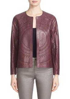 Lafayette 148 New York Callia Laser Cut Lambskin Leather Jacket