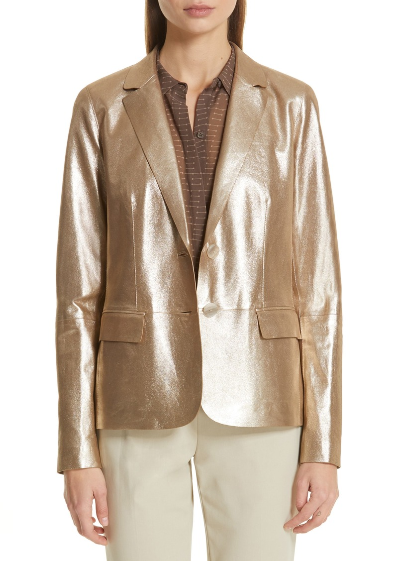 Lafayette 148 New York Camden Metallic Leather Jacket