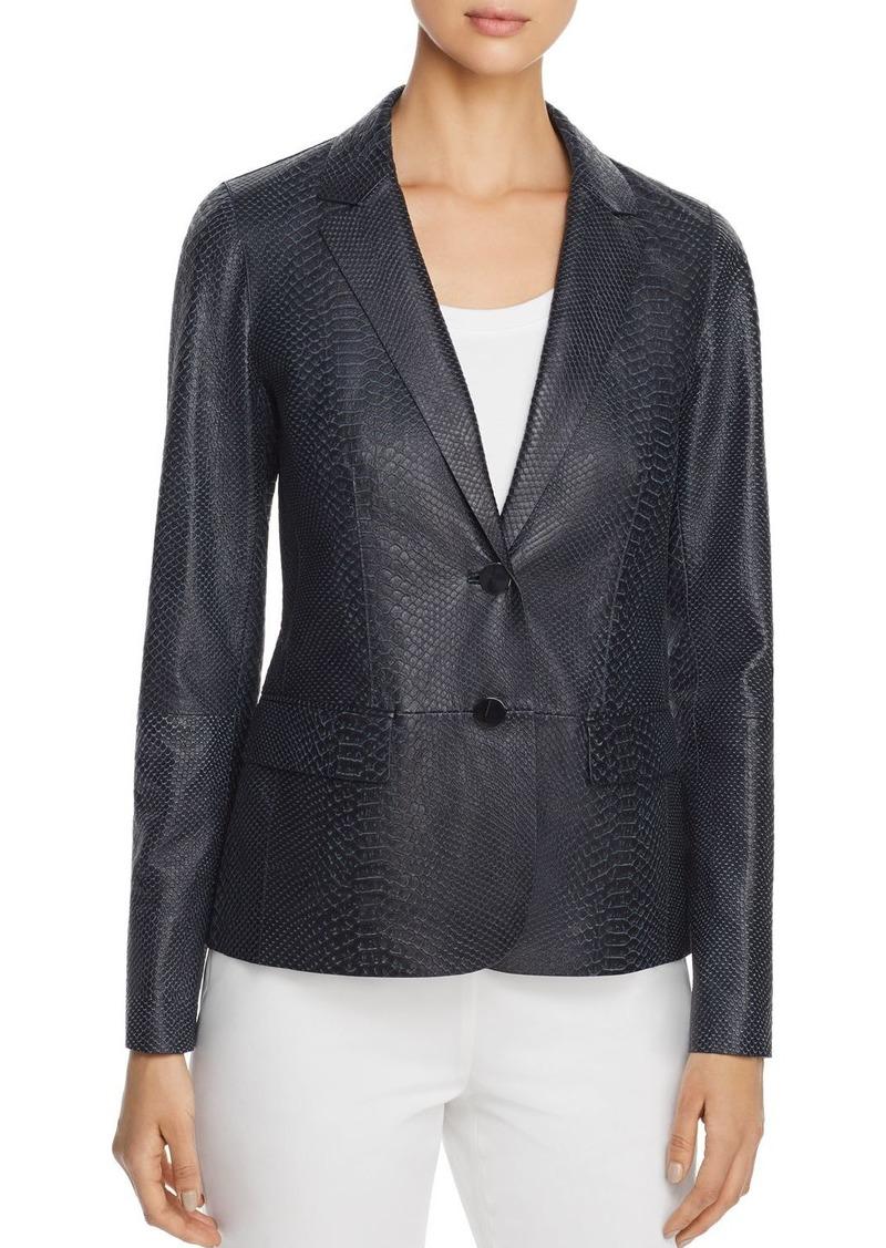 Lafayette 148 New York Camden Snake-Embossed Leather Blazer - 100% Exclusive