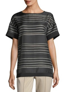 Lafayette 148 New York Camira Striped Short-Sleeve Top