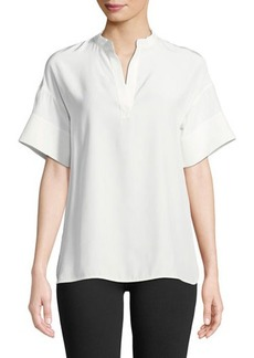 Lafayette 148 New York Candra Short-Sleeve Matte Silk Blouse