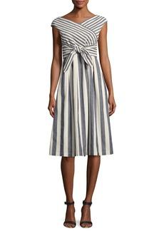 Lafayette 148 New York Cap-Sleeve Striped Tie-Waist Dress