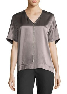 Lafayette 148 New York Caprice Chain-Trimmed Charmeuse Blouse