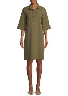 Lafayette 148 Cara Italian Pima Stretch Shirt Dress