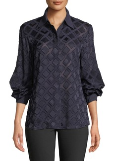 Lafayette 148 New York Cardee Button-Front Long-Sleeve Vertex Fil Coupe Blouse