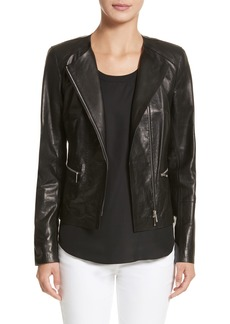 Lafayette 148 New York Caridee Glazed Lambskin Leather Jacket