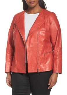 Lafayette 148 New York Caridee Glazed Lambskin Leather Jacket (Plus Size)