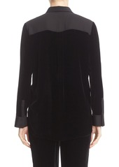 Lafayette 148 New York 'Carlise' Classic Velvet Blouse with Tech Jersey Detail