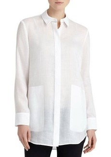 Lafayette 148 New York Carlise Long-Sleeve Button-Front Blouse