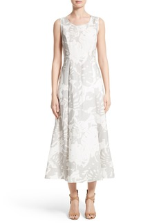 Lafayette 148 New York Carressa Print Linen Midi Dress